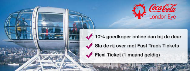 Bezoek London Eye! Met Fast Track tickets kun je vanuit huis tijd én tot één derde van de ticketprijs besparen in vergelijking met de kassa. Koop online!