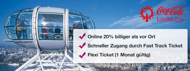 Besuchen Sie das London Eye! Mit Fast Track Tickets mit bevorzugtem Einlass sparen Sie Zeit und ein Drittel des Preises vor Ort. Online buchen!