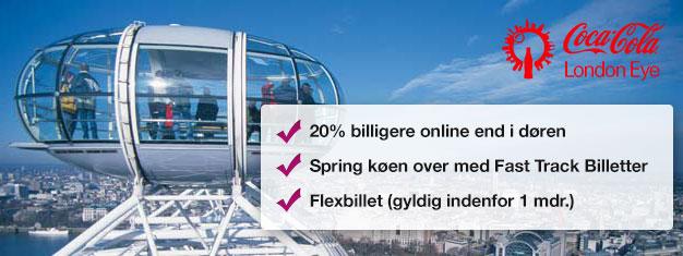 Besøg London Eye! Køb spring-køen-over billetter hjemmefra og spar tid i køen og spar op til 20% af prisen sammenlignet med London Eye. Køb online!