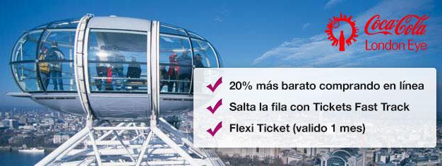 Visita el London Eye!  Reserva entradas Fast Track desde casa y ahorra hasta un 20% comparado con el precio que se paga directamente en el London Eye. Compra en línea!