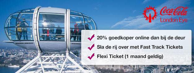 Bezoek London Eye! Koop Fast-Track tickets vanaf thuis en bespaar tijd EN geld tot 20% vergeleken met de prijs direct bij de London Eye. Koop online!