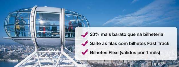 Visite a London Eye! Reserve com antecedência seus bilhetes Fast Track e ganhe tempo (e dinheiro!) na hora do embarque. Compre online aqui!