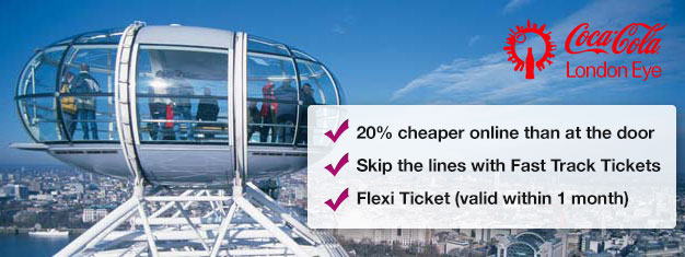 Save time and up to 20% off the ticket price - purchase Fast Track London Eye Tickets.  Book tickets today!