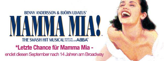 Erleben Sie Mamma Mia! The Musical am Broadway bevor es zu spät ist. Musik von ABBA. Endet September 2015! Tickets für diese Hit-Musical online buchen!