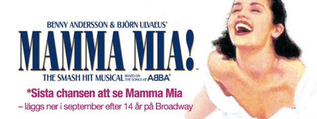 Upplev Mamma Mia the Musical på Broadway innan det är för sent! Musik av ABBA. Stänger september 2015! Boka biljetter till denna succémusikal på nätet!