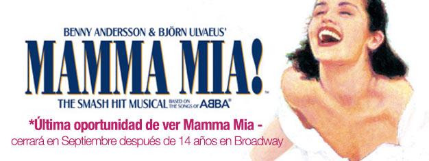 Disfruta el musical Mamma Mia en Broadway antes de que sea muy tarde! Música por ABBA. Cierra en Septiembre 2015! Reserva tus entradas en línea!