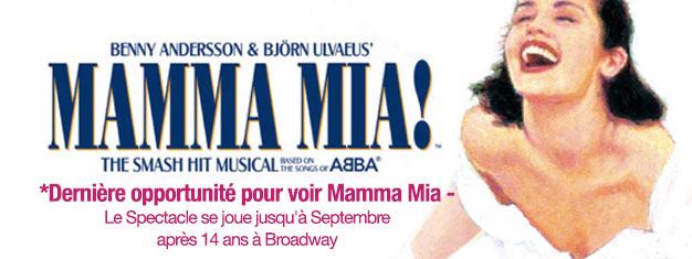 Découvrez la comédie musicale Mamma Mia à Broadway avant qu'il ne soit trop tard! La musique est signée ABBA. Terminé en Septembre 2015! Réservez vos billets pour cette comédie musicale culte en ligne!