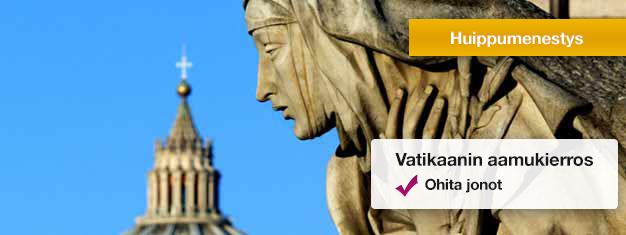 Käy Vatikaanin museoissa, ihaile Sikstuksen kappelia ja tutkaile Pietarinkirkkoa. Varaa liput netistä, niin varmistat pääsysi tälle suositulle kierrokselle!