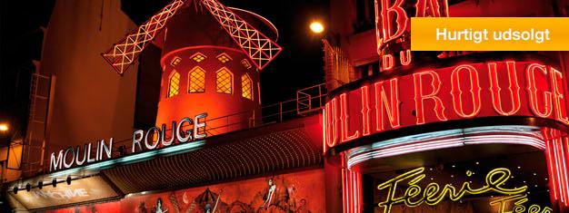 Oplev den verdenskendte cabaret i Moulin Rouge. Billetterne bliver hurtigt udsolgt til dette enestående show, så bestil dine billetter i forvejen!
