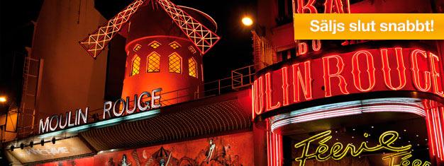 Upplev äkta can-can & cabaret på Moulin Rouge i Montmartre, Paris! Biljetterna säljer ut snabbt, så boka i god tid. Inga mellanhänder, e-biljett till din inkorg.
