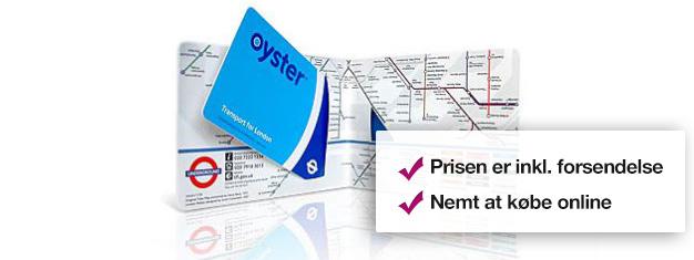 Kør ubegrænset med metro og busser i alle zoner med et Oyster Card i London! Det er det billigste transportkort. Børn under 11 år er gratis. Bestil online!