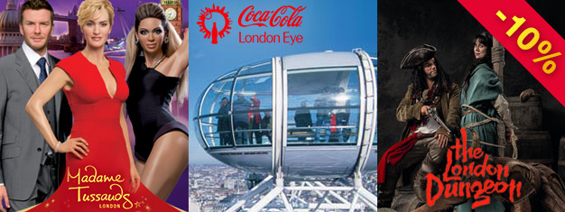 Save 10% on London Eye, Madame Tussauds & London Dungeon with our super saver London Combo Silver Package! Book here and save!