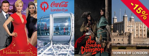 Économisez 15% sur l'Œil de Londres, le Musée de Madame Tussauds, le Donjon de Londres et la Tour de Londres avec notre superbe Package Combo Or!