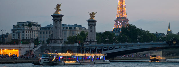 Enjoy a ldelicious dinner in the Eiffel Tower, followed by a relaxing evening cruise alongthe Seine. Book online and skip the line at the Eiffel Tower.