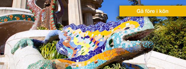 Hoppa över köerna till Park Güell med din guide! Njut av en guidad promenad i den otroliga offentliga parken av Antoni Gaudi. Boka dina biljetter online!