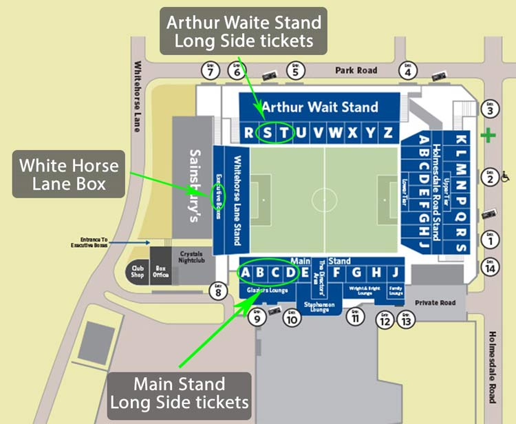 Plano de lugares Selhurst Park