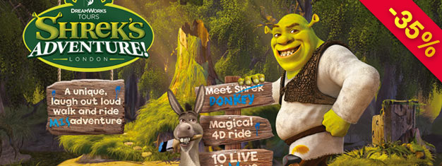 Shrek's Adventure! is a unique walk and ride attraction for the whole family! Save time with prebooked tickets! Max. 45-minute wait!