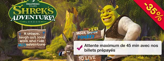 L'Aventure de Shrek! C'est un manège incroyable pour toute la famille! Économisez avec des billets prépayés! 45 minutes d'attente maximum!