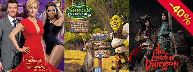 Säästä 40% lippuhinnoista Madame Tussaudsiin, London Dungeoniin & Shrek's Adventureen supersäästäjän Lontoon Hopeapaketilla! Osta heti tänään ja säästä!