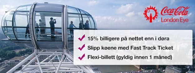 Hvorfor kaste bort tid på å stå i kø? Bestill din Fast Track billett til det populære pariserhjulet London Eye og spar 15 % på dine billetter!