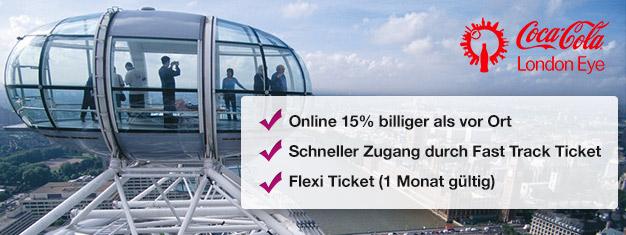 Warum Zeit in der Schlange vergeuden? Buchen Sie Fast Track Tickets für das Riesenrad London Eye online und sparen Sie 15% auf Ihre Eintrittskarten!