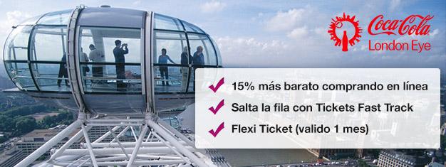 Por qué perder tiempo haciendo filas? Reserva tus entradas Fast Track a la popular noria London Eye en línea y ahorra un 15% en el precio!
