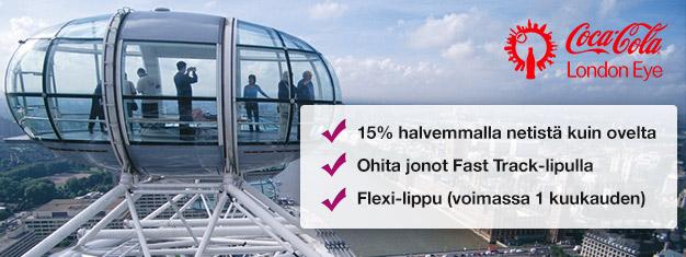 Miksi tuhlaisit aikaasi jonottamiseen? Osta Fast Track -liput suosittuun London Eyen maailmanpyörään ja säästä 15% lippuhinnoista!