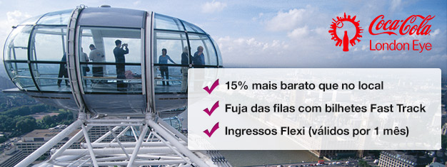 Porquê perder tempo em filas? Entre rapidamente no London Eye e poupe 15% no preço dos bilhetes quando comparado com o preço na porta!