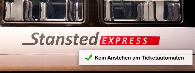 Kaufen Sie Ihr Zugticket für den Stansted Express bereits Zuhause und steigen Sie direkt in den Schnellzug nach London ein! Die Reise dauert nur 45 Minuten!