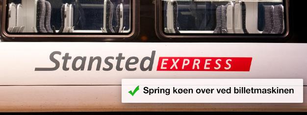 Forudbestil dine togbilletter til Stansted Expressen og hop direkte på toget fra Stansted lufthavn til Liverpool Street Station! Rejsetiden er 45 min.