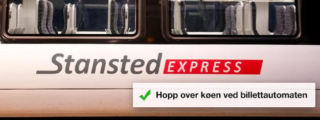 Forhåndsbestilldine billetter til Stansted-ekspressen og hopprett på toget som går mellom flyplassen og Liverpool Street Station! Reisetiden er på kun 45 minutter.