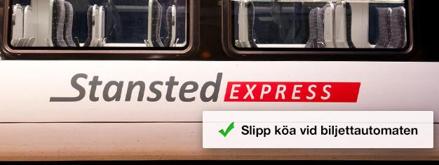 Köp din tågbiljett till Stansted Express här och kliv ombord på snabbtåget mellan flygplatsen och London Liverpool Street Station. Restid endast 45 minuter.