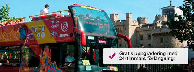 Biljetter till London sightseeing med The Original Tour hop on hop off bussar. Hoppa på och av som du vill för att utforska London på egen hand! Biljett här!