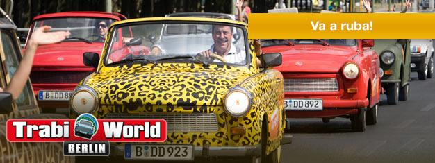Goditi Berlino da una Trabi! Scegli tra tre tour. Guida la tua Trabi e guarda il meglio di Berlino. Prenota la tua Trabi online oggi!