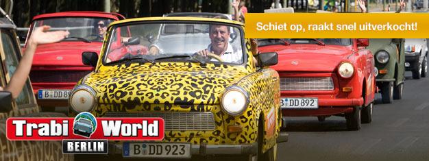 Verken Berlijn vanuit een Trabi! Kies uit drie tours. Rij rond in uw Trabi en zie de hoogtepunten van Berlijn. Boek vandaag nog uw Trabi online!