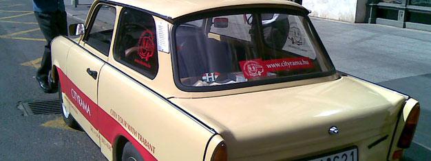 Koe Budapest tällä Trabant-kierroksella! Ei ole parempaa tapaa tutustua Budapestiin kuin alkuperäisen Trabant 601:n kyydistä. Varaa Trabant-ajelusi tästä!