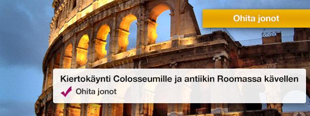 Lähde opastetulle retkelle Colosseumiin ja Forum Romanuviin. Vältä jonot ja opi Rooman historiaa. Osta liput netistä!