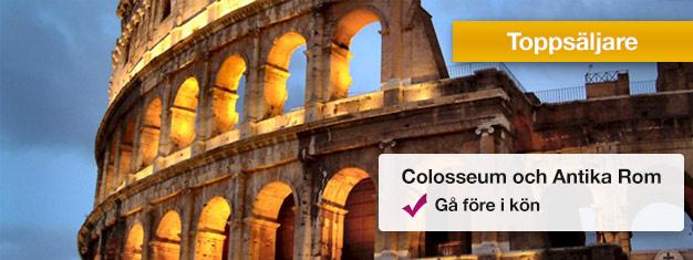 Ta en guidad rundtur i Colosseum och Forum Romanum och gå före i de långa entréköerna med din guide! Lär dig mer om Antika Rom. Boka biljetter på nätet!