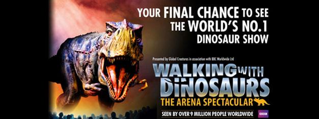 Walking with Dinosaurser tilbake iLondonetter65 millioner år. Bestill dine billetter til dette fantastiske showetmed 20 dinosaurer i sin naturlge, fulle størrelse i dag!