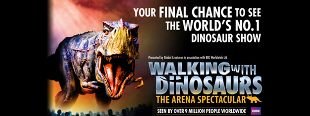 Walking with Dinosaurs are back in London after 65 million years. Book your tickets ti this amazing theatrical show with 20 life-size dinosaurs today!