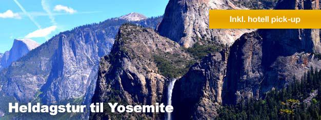 På denne heldagsturen til Yosemite, får du oppleve Yosemite nasjonalpark og de majestetiske, gigantiske sequoia-trærne. Book turen din her!